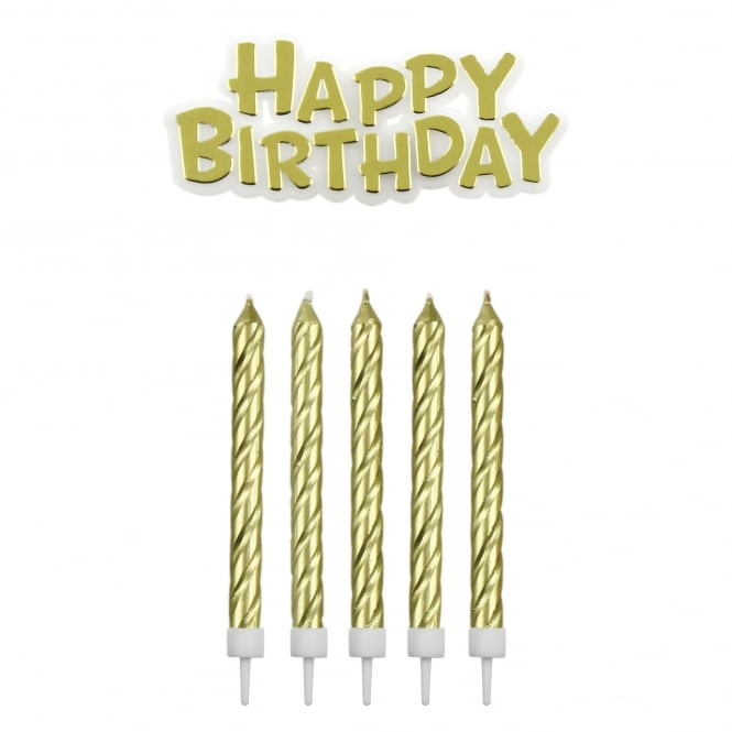 PME Gold Happy Birthday Candle Set
